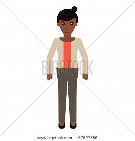 afro woman bun hair sweater casual vector illustration eps 10