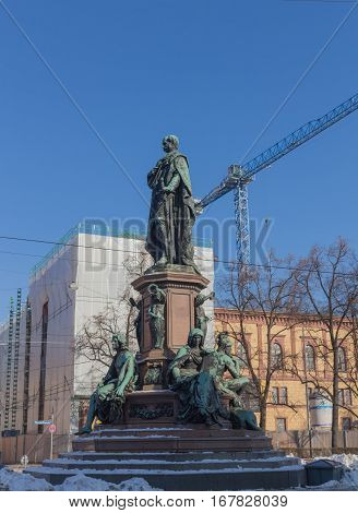 MUNICH - JANUARY 28: Monument of King Max II in Munich Maximilian street. The statue was built 1875 by Ferdinand von Miller