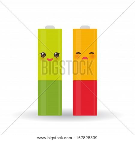 battery icons set with full and low charge status energy level isolated on white background. Vector illustration