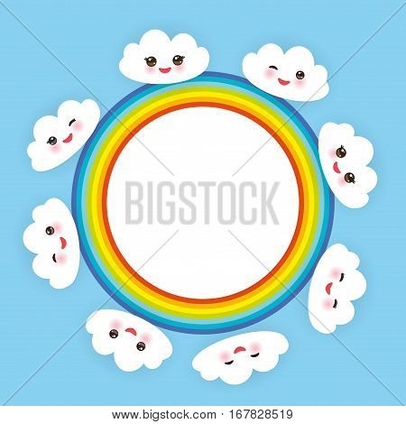Kawaii funny white clouds set muzzle with pink cheeks and winking eyes. rainbow round frame on light blue background. Vector illustration
