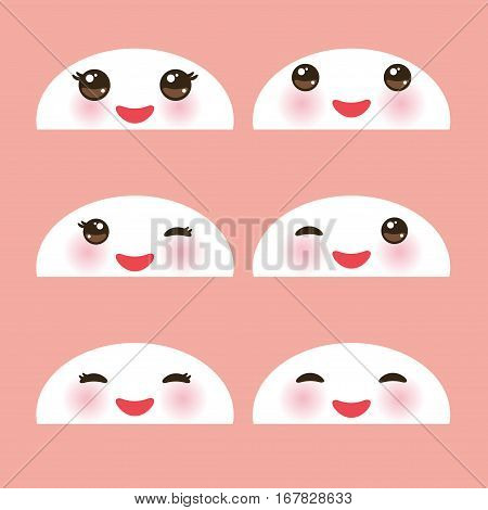 Kawaii funny white muzzle with pink cheeks and winking eyes on light pink background. Vector illustration