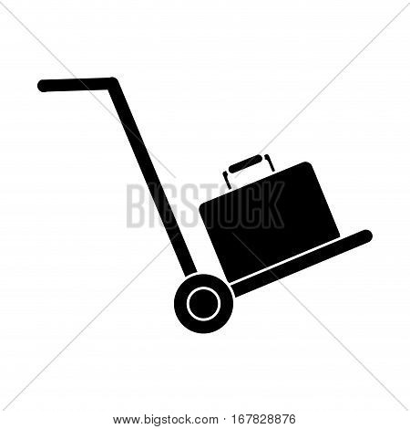 silhouette hand cart suitcase luggage travel equipment vector illustration eps 10