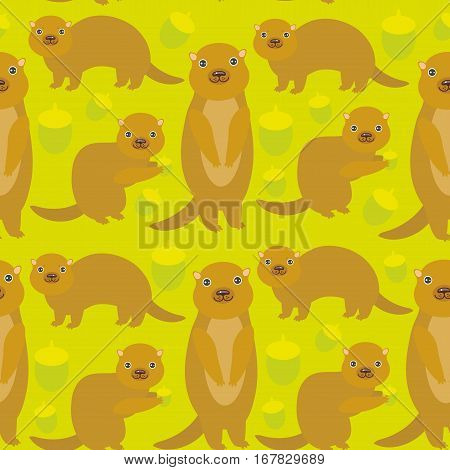 Seamless pattern Set of funny Gopher ground squirrel with acorn on green background. Vector illustration