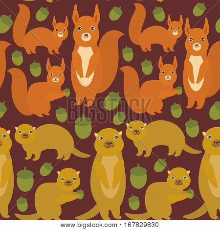 Seamless pattern Set of funny red squirrels with Gopher ground squirrel fluffy tail with acorn on dark brown burgundy background. Vector illustration