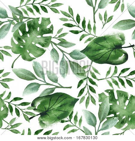 Watercolor seamless background with green tropical leaves