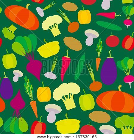 Seamless pattern vegetables bell peppers pumpkin beets carrots eggplant red hot peppers cauliflower broccoli potatoes mushrooms cucumber onion garlic tomato radish green background. Vector illustration