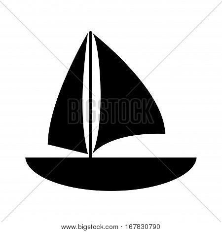 silhouette sailboat navigation water recreation vector illustration eps 10