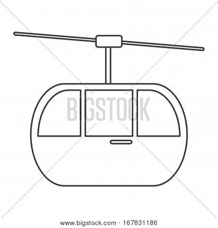 sky cable car transport mountain thin line vector illustration eps 10