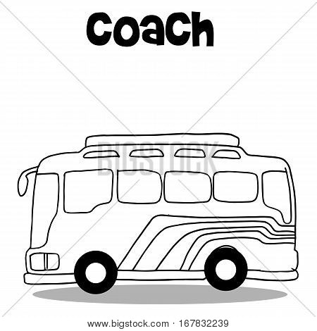 Coach bus of vector art hand draw