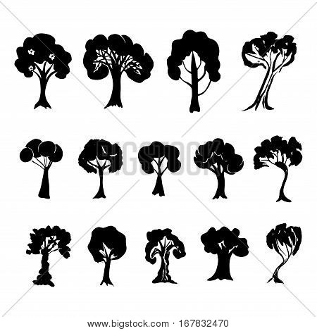 Tree collection. Set of black trees silhouettes isolated on white background. Vector illustration