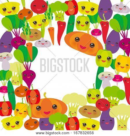 Round frame Kawaii bell peppers pumpkin beets carrots eggplant red hot peppers cauliflower broccoli potatoes mushrooms cucumber onion garlic tomato radish white background. Vector illustration