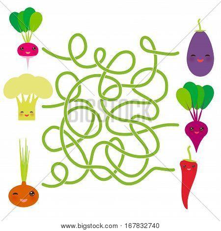 Kawaii vegetables on white background Radishes Cauliflower Onions Beet Eggplant Chile. labyrinth game for Preschool Children. Vector illustration