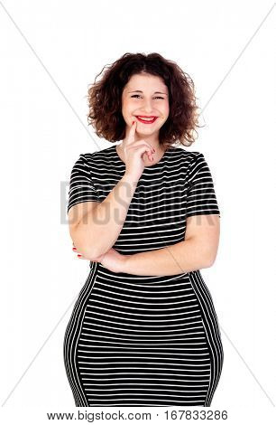 Pensive beautiful curvy girl with striped dress isolated on a white background