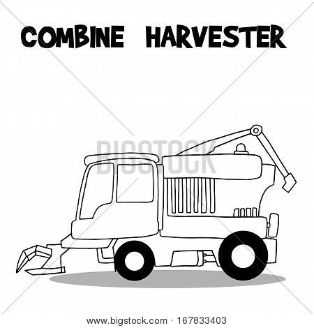 Combine harvester vector art illustration collection stock