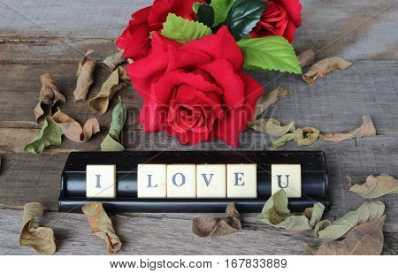 Crossword puzzled with blocks spelling i love u words on old wooden board with artificial red roses background. Love and romance Valentine's day concept.