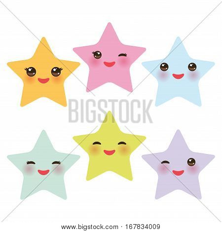 Kawaii stars set face with eyes boys and girls pink green blue purple yellow pastel colors on white background. Vector illustration