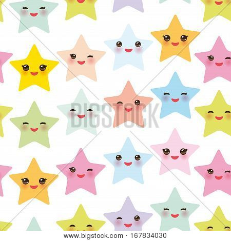 Seamless pattern Kawaii stars set face with eyes boys and girls pink green blue purple yellow pastel colors on white background. Vector illustration