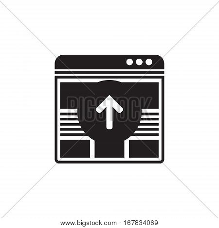 Vector icon or illustration showing web site seo ranking with arrow up in one balck color