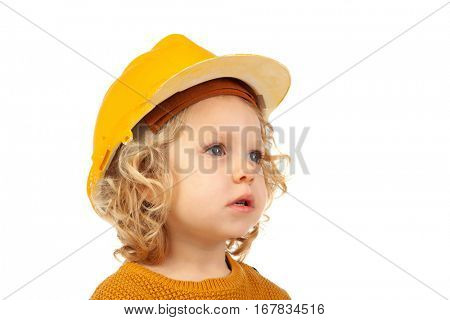 Cute little kid with yellow helmet isolated on a white background