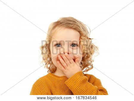 Surprised blond child with blue eyes isolated on a white background