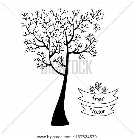 Tree vector black silhouette isolated on white background. Hand drawn sketch illustration. The crown of the tree in a shape of square.