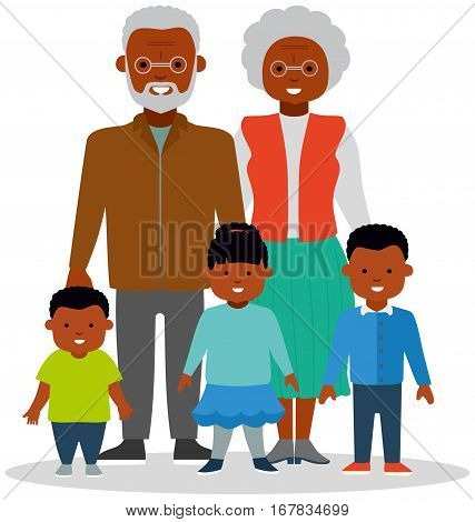 Grandma and grandpa with grandkids, a girl and two boys of different ages. African-American family. African ethnic people. White background. Flat vector illustration