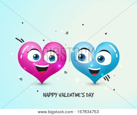 Glossy Cartoon Hearts with Smiling Face for Happy Valentine's Day celebration.