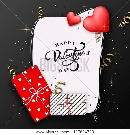 Elegant Greeting Card design with wrapped gift boxes and glossy hearts for Happy Valentine's Day celebration.