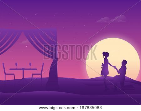 Vector silhouette of Young man proposing to his beloved on beautiful night romantic beach background for Happy Valentine's Day Celebration.