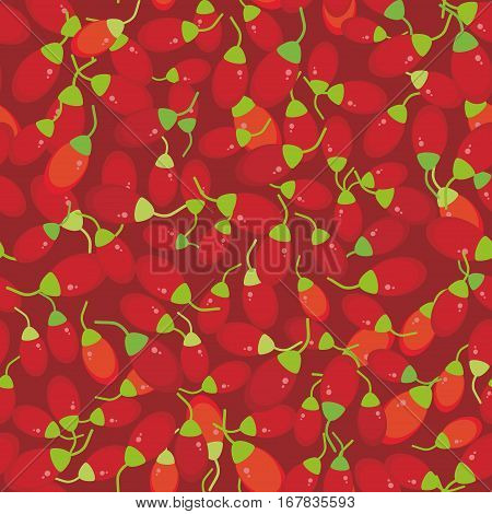 seamless pattern red goji berry Fresh juicy berries on red background. Vector illustration
