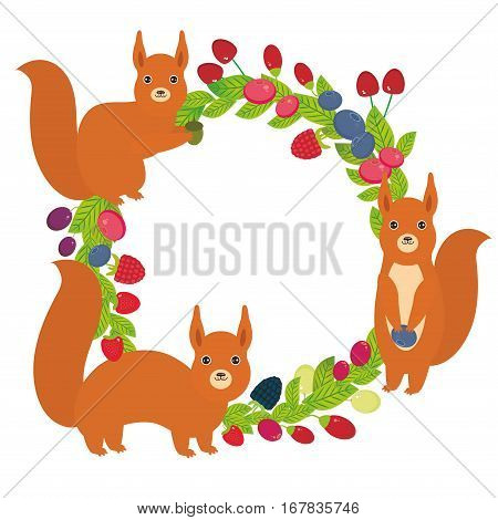 Round wreath with red squirrels Cherry Strawberry Raspberry Blackberry Blueberry Cranberry Cowberry Goji Grape Fresh juicy berries on white background. Vector illustration