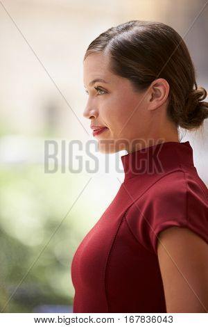 Young white businesswoman in maroon dress, side view, vertical