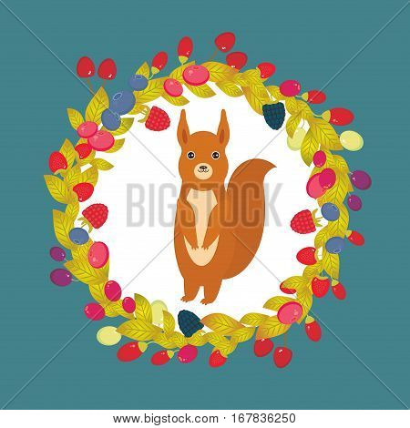 Round wreath with red squirrel Cherry Strawberry Raspberry Blueberry Cranberry Cowberry Goji Grape on dark blue background. Vector illustration