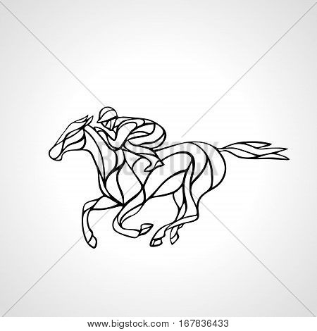 Horse race. Equestrian sport. Outline silhouette of racing horse with jockey on isolated background. Horse and rider. Racing horse and jockey silhouette. Derby. Eps 8