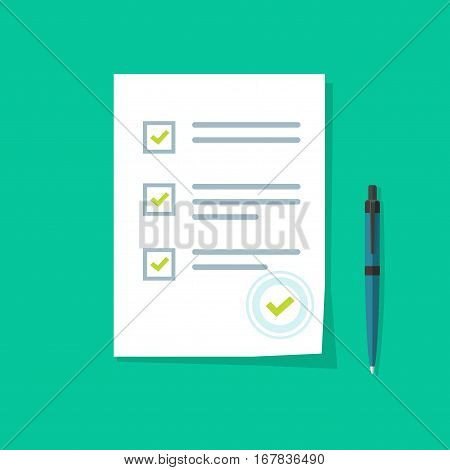 Survey form icon vector, flat style good exam results paper sheet with pen, quiz form idea, passed questionnaire, interview assessment illustration isolated on color background