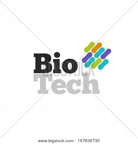 Bio technology logotype with abstract color genetic microorganism structure isolated on white background, biotech logo vector symbol,