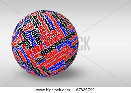 Dimensional 3D ball with colored fake news tag word cloud on light gradient background