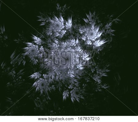 White snowflake on a green background. Abstract background, fractal image syurreal. The background is made up of multi-colored fractal structure. Illustration of space geometry. Great idea for the creativity and design