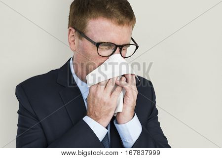 Business Man Sick Cry Tissue Paper
