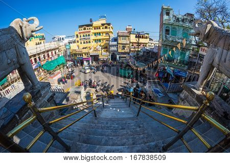 Udaipur, India - January 29, 2017: Crowd And Traffic In The Enchanting Udaipur, Famous Travel Destin
