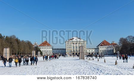 MUNICH - JANUARY 28: Beautiful view of Nymphenburg Palace in winter with snow in Munich Bavaria.