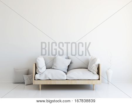 Interior mockup illustration, 3d render of scandinavian style room with sofa, white blank wall