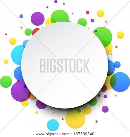 Round abstract white background with color bubbles. Vector paper illustration.