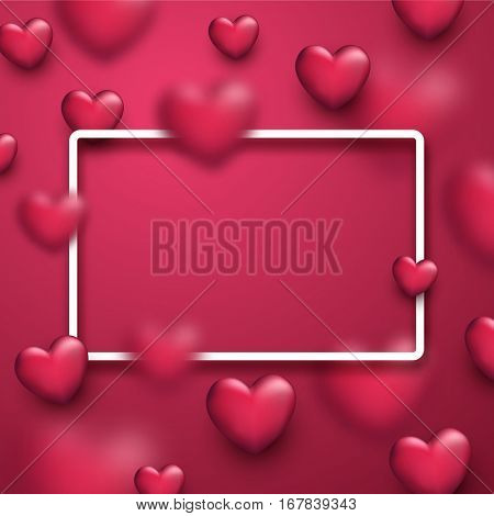 Valentine's pink love background with 3d hearts. Vector illustration.