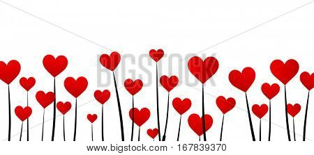 White Valentine's love background with red hearts. Vector paper illustration.