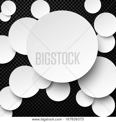 Chess background with white paper circles. Vector illustration.