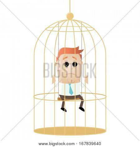 clipart of a sad businessman in birdcage