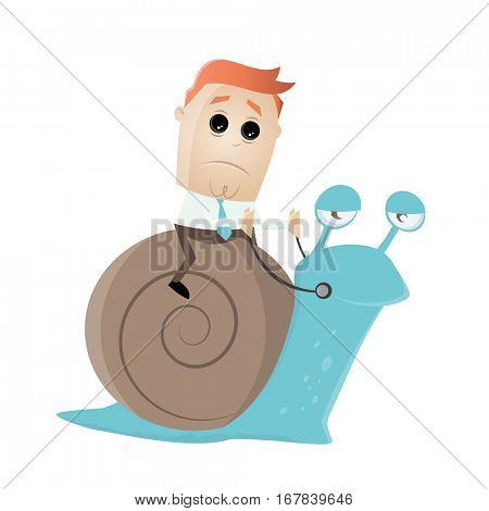 businessman riding a slow snail