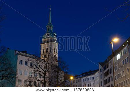 Night shot of St. Peter's Church (Peterskirche) in Munich Germany