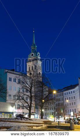 MUNICH - JANUARY 29: Night shot of St. Peter's Church (Peterskirche) in Munich Germany